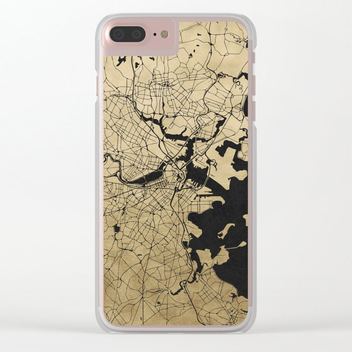 Boston Black and Gold Map Clear iPhone Case