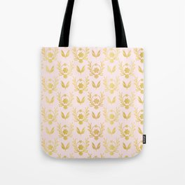 Luxe Rose Gold Foil Floral Lattice Seamless Vector Pattern, Drawn Damask Tote Bag