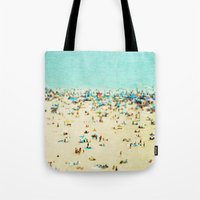 island Tote Bags featuring Coney Island Beach by Mina Teslaru
