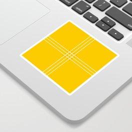Fine Lined Cross on Yellow Sticker