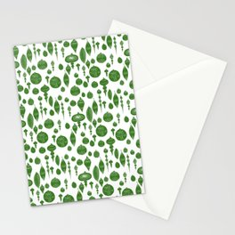 Vintage Christmas Ornaments in Green on White Stationery Cards