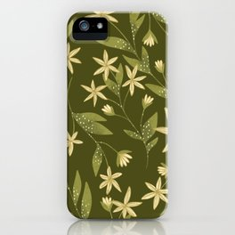 Magical Golden Botanical Jasmin Pattern iPhone Case