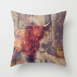Sightseeing Cattle Throw Pillow