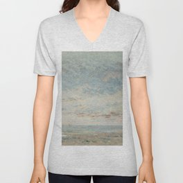 """Gustave Courbet """"Low Tide at Trouville"""" Unisex V-Neck"""