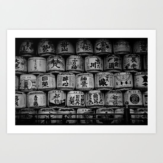 Sake Casks at Shrine, Kyoto Art Print