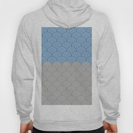 Geometric Circle Shapes Beachy Fish Scale Pattern in Blue and Gray Hoody