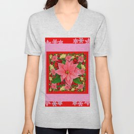 PINK SNOWFLAKES RED & PINK POINSETTIAS CHRISTMAS ART Unisex V-Neck