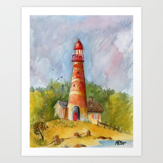 Red Lighthouse Art Print