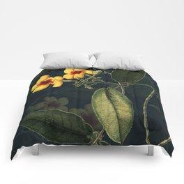 Night Yellow Flower Comforters