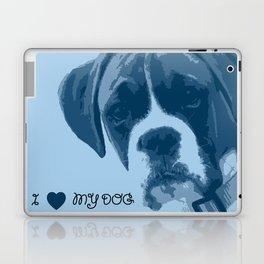 I love my dog - Boxer, blue Laptop & iPad Skin