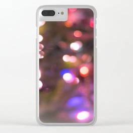 Colored Lights, Bokeh, White, Blue, Pink, Clear iPhone Case