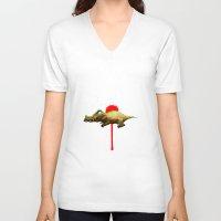 crocodile V-neck T-shirts featuring Crocodile by Fran Niño