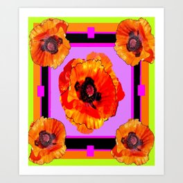 Decorative Golden-Orange Poppy Flowers Purple-Chartreuse Art Art Print