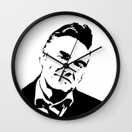 Painting of singer and lyricist from The Smiths, acrylic on canvas, monochrome pop stencil art. Wall Clock