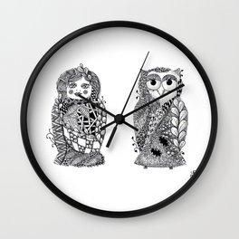 Babushka n Owl Wall Clock