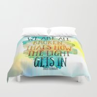 hemingway Duvet Covers featuring We are All Broken Ernest Hemingway Quote by Ginkelmier