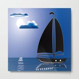 Moonlight Sail Metal Print