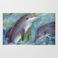 dolphins Area & Throw Rugs featuring Dolphins by Natalie Berman