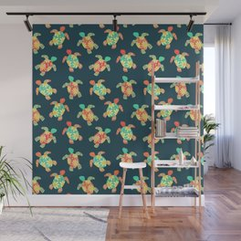 Cute Flower Child Hippy Turtles Wall Mural