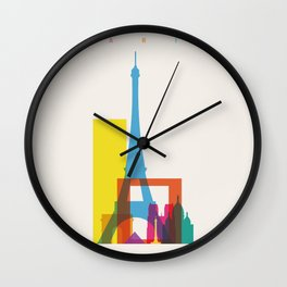 Shapes of Paris. Accurate to scale. Wall Clock