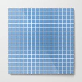 Livid - blue color - White Lines Grid Pattern Metal Print