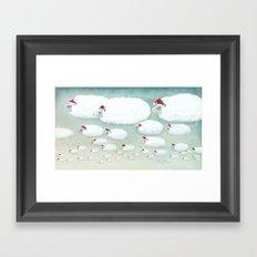 Christmas Cloudy Sheep Framed Art Print