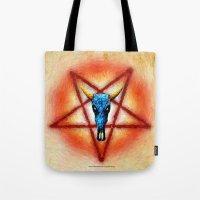 pentagram Tote Bags featuring NATIVE PENTAGRAM - 018 by Lazy Bones Studios