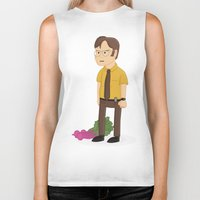 dwight schrute Biker Tanks featuring Majestic Schrute Farms by gregmsna