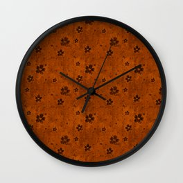 Burnt Orange Grunge Flowers and Hearts Pattern Gift Ideas Wall Clock