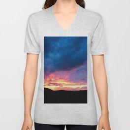 Blue Cloud Sunset Sky Landscape Skyscape Unisex V-Neck