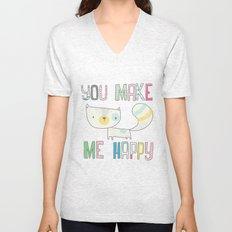 make me happy Unisex V-Neck