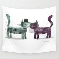 wedding Wall Tapestries featuring Cat Wedding by maria carluccio