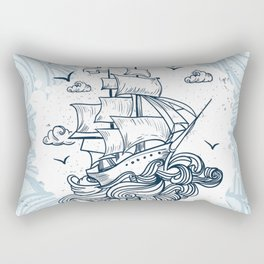 Hand drawn boat with waves background Rectangular Pillow
