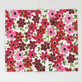 Raspberry Flowers Throw Blanket