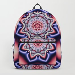 Fantasy pattern flower in purple,pink, blue & salmon Backpack