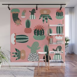 Succulents Pink Wall Mural