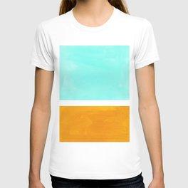 Rothko Minimalist Mid Century Modern Vintage Colorful Pop Art Colorfield Light Teal Yellow Ochre T-shirt