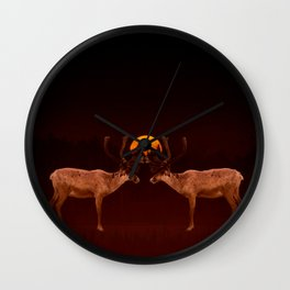 Reindeers With Moon On A Dark Purple Background #decor#buyart #society6 Wall Clock