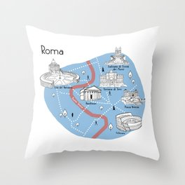 Mapping Roma - Original Throw Pillow