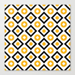 Sun yellow pattern of rhombuses and circles Canvas Print