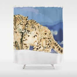 Snow leopards Shower Curtain