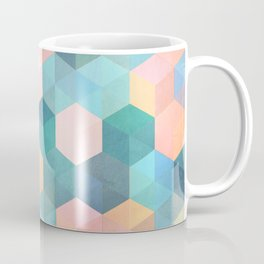 Child's Play 2 - hexagon pattern in soft blue, pink, peach & aqua Coffee Mug