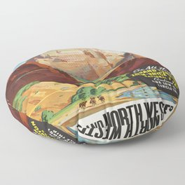 Vintage poster - Zion National Park Floor Pillow
