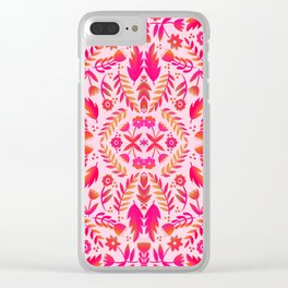Folk Art Flowers Pattern - Red and Pink Clear iPhone Case
