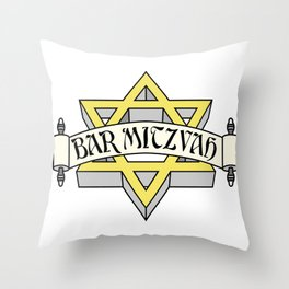 Bar Mitzvah with gold star of david Throw Pillow