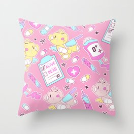 Yami Kawaii Creepy Cute Bears on Pink Throw Pillow