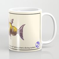 diver Mugs featuring Diver by Uri Tuchman