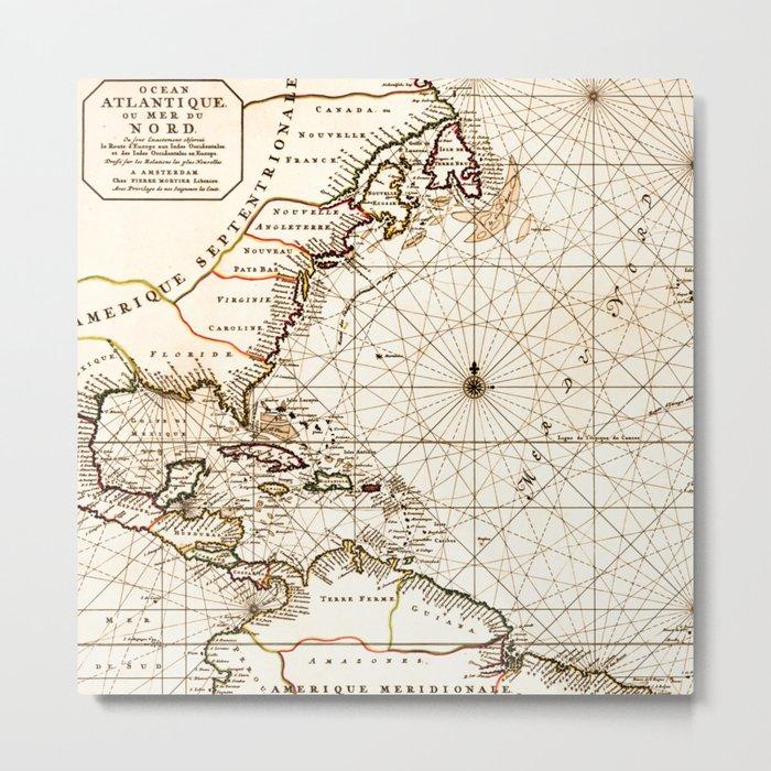 Vintage Atlantic Ocean Map Metal Print