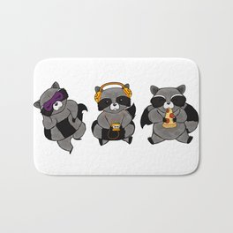 three wise raccoon Bath Mat