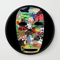 spirited away Wall Clocks featuring No Face by Ilse S